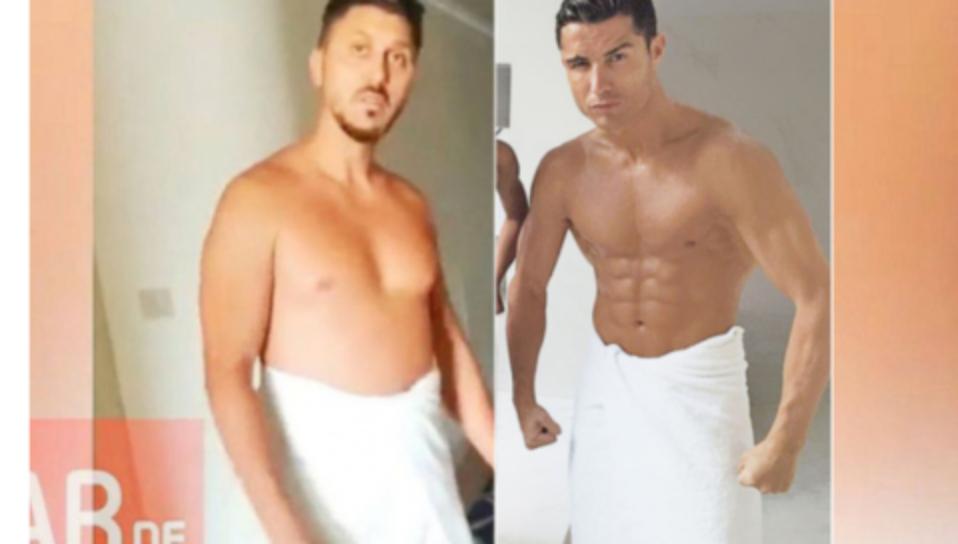 Cum arată Ronaldo în prosop la 35 de ani și cum arată Marica la 34. Se vede că la ultimele turnee finale noi am fost la bere!