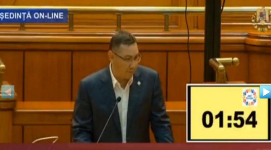 Ponta urlă în Parlament că avem cel mare număr de infectați, dar nu poartă mască. Puie, mă!