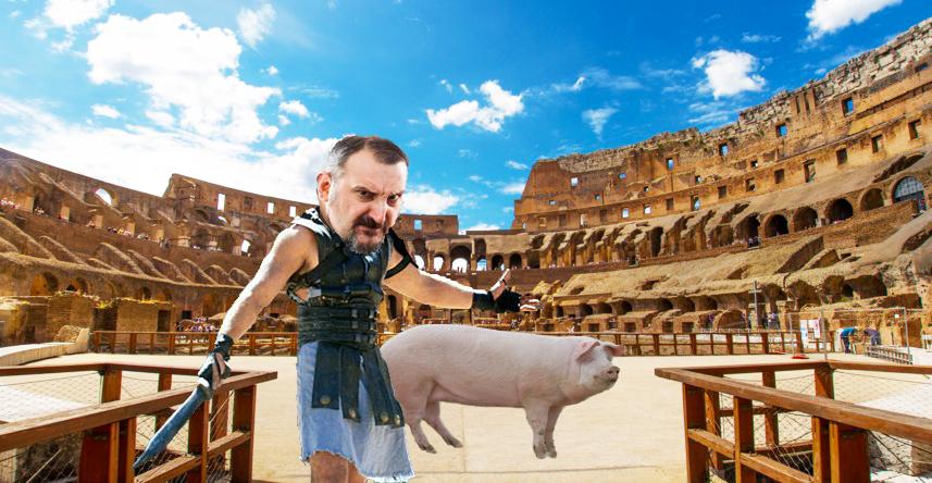 Un român din Italia a tăiat porcul la Colosseum!