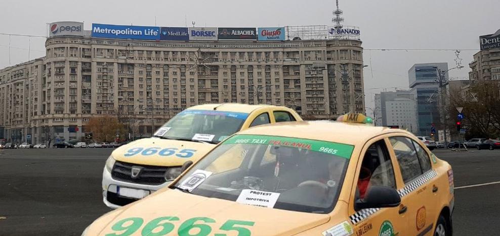La protestul taximetriștilor au ajuns doar două mașini, că restul aveau drum în Berceni sau Titan!