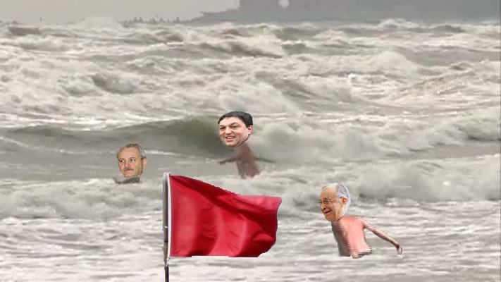 În atenția PSD-iștilor: Steagul roșu arborat pe plajă înseamnă că marea e numai a voastră!