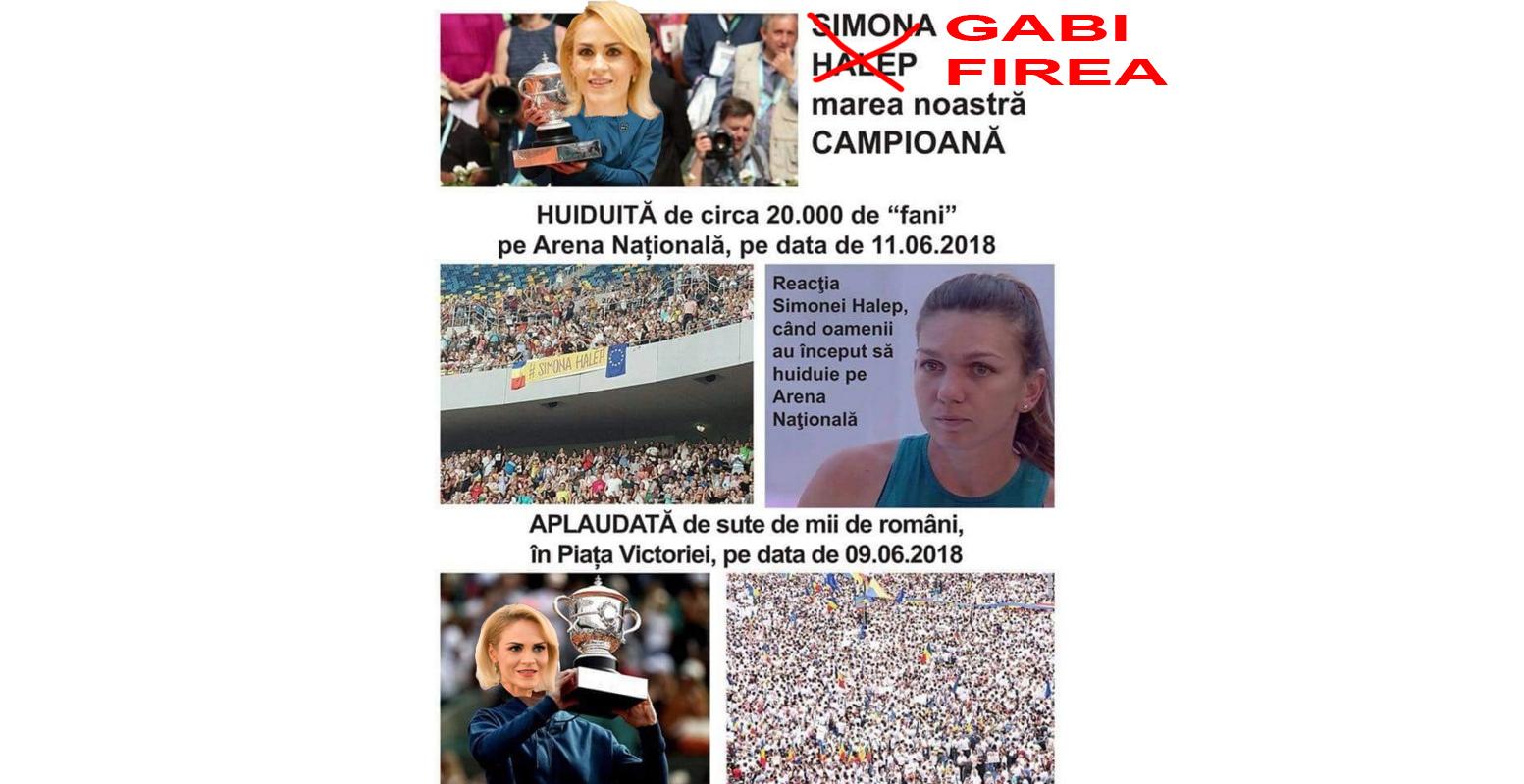 """PSD Caracal: """"Gabi Firea, câștigtoarea Roland Garros, huduită de Simona Halep pe Arena Națională!"""""""