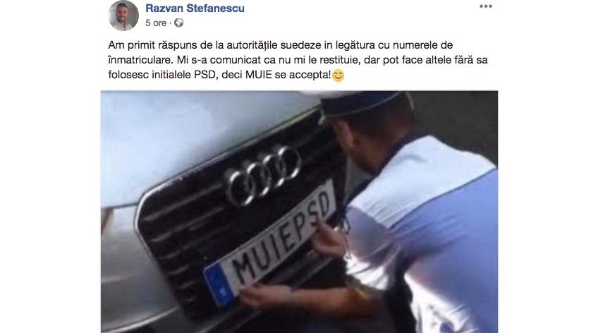"""Suedia îl lasă pe Răzvan Ștefănescu doar cu """"MUIE"""" pe plăcuțe.Deci """"PSD"""" era cuvântul obscen!"""