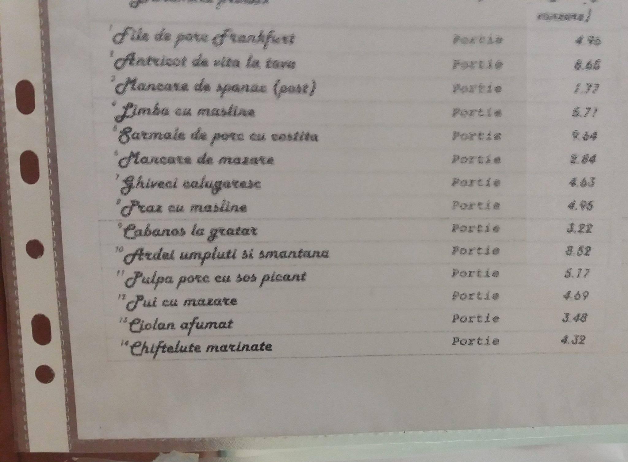 Prețurile de la restaurantul din Parlament (KKtul lipsește din meniu, deși se mănâncă toată ziua)