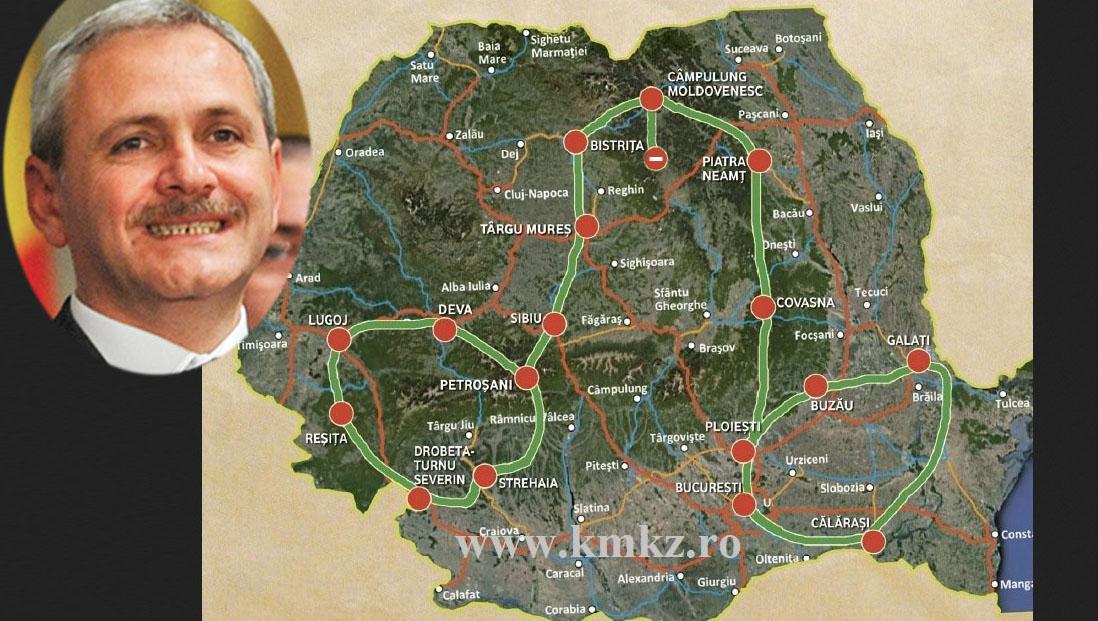 Dragnea a prezentat Harta viitoarelor autostrăzi construite de PSD