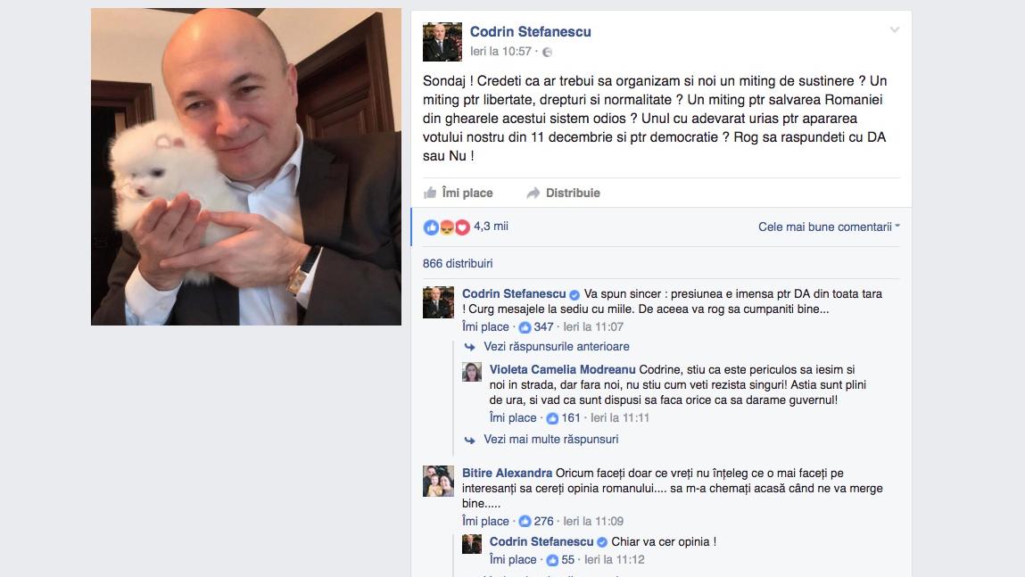 """Codrin Ștefănescu: """"Milioanele de susținători PSD ne cer să-i scoatem în stradă. Sau măcar să le dăm cei 50 de lei"""""""