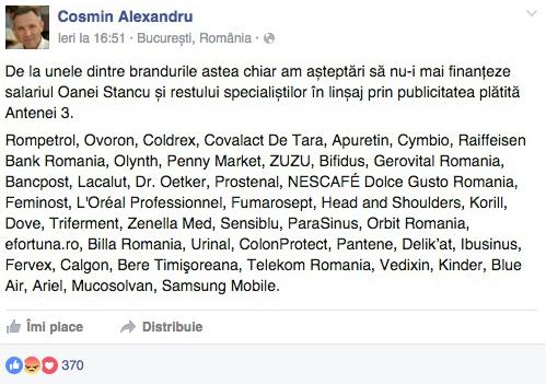Lista brandurilor care plătesc salariile lui Gâdea și Oana Stancu din banii cumpărătorilor