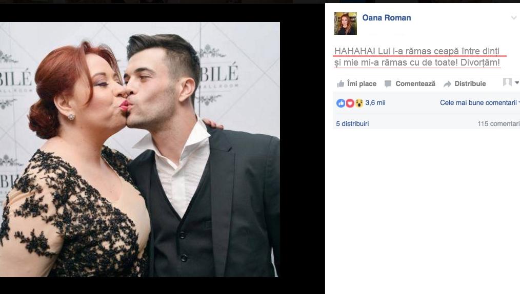 Oana Roman divorțează din cauza nepotrivirii de caracter: lui îi place cu varză și ceapă, ei cu de toate