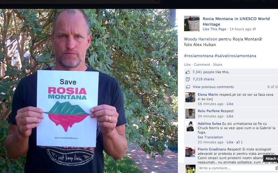 """Mihai Gâdea, p-asta o știai? Poza cu Woody Harrelson și """"Save Roșia Montană"""" e făcută cu aparatul lui Patapievici!"""