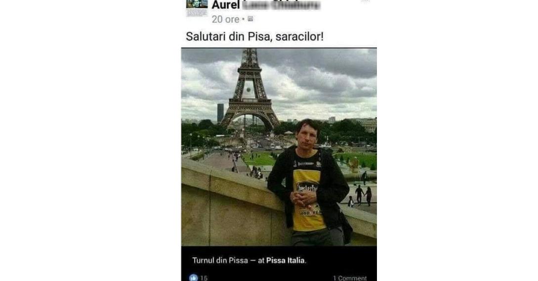Aurele, ăla nu e Turnul din Pisa! Ăla eStâlpul de Înaltă Tensiune din Pisa!