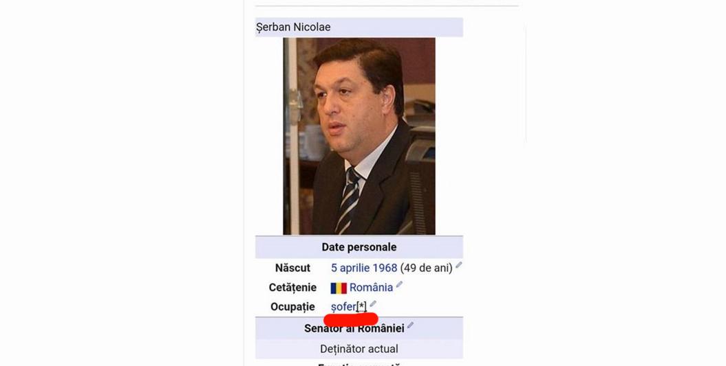 "Wikipedia confirmă: Șerban Nicolae e șofer! Șerban Nicolae: ""Ampoze cu Wikipedia când face anal!"""