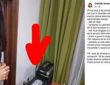 Tocătorul de documente din biroul fostului primar PSD de la Sectorul 1. Nu a mai fost scos din priză din seara alegerilor!