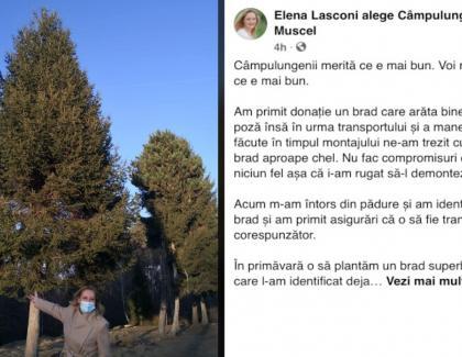 Elena Lasconi s-a dus în pădure şi a tăiat un brad uriaşpentru Crăciun, apois-a dus în Laponiaşi a răpit un Moş Crăciun!