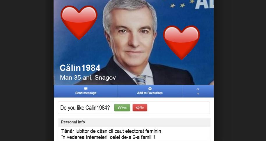 """Poza lui Tăriceanu a apărut pe sentimente.ro: """"Tânăr iubitor de căsnicii caut electorat feminin în vederea întemeierii celei de-a 6-a familii"""""""