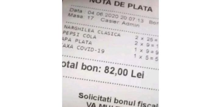 Restaurantele pun clienților o taxă de Covid de 5 lei. Asta pe lângă taxa de fraier reprezentată de sticla de apă plată la 9 lei!