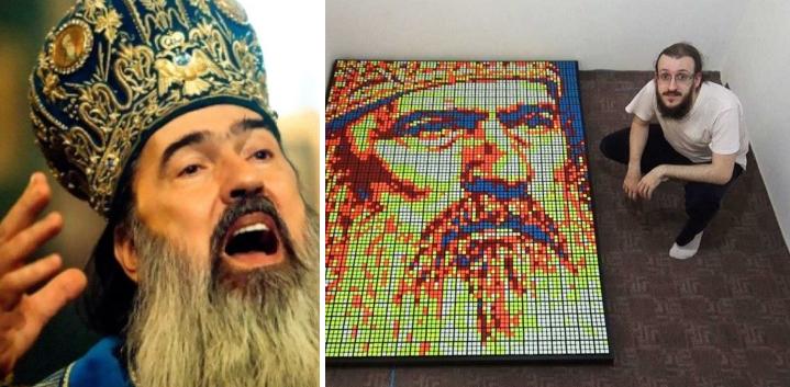 """ÎPS Teodosie, nemulțumit de portretul din cuburi Rubik:""""Trebuia din cuburi de aur!"""""""