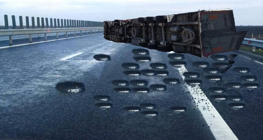 Alertă: Pe Autostrada Soarelui s-a răsturnat un TIR plin cu gropi!