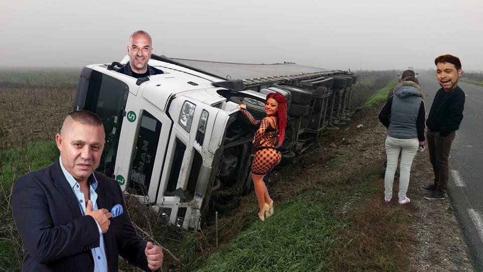 Dezastru ecologic! Un TIR plin cu manele s-a răsturnat la intrarea în București!