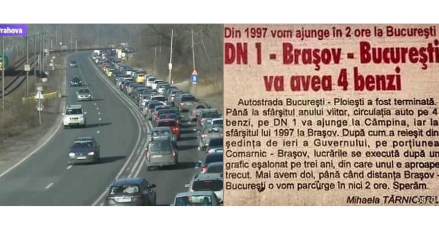 Zeci de mii de maşini s-au oprit în trafic pe Valea Prahovei pentru a sărbători 24 de ani de când DN1 are 4 benzi!