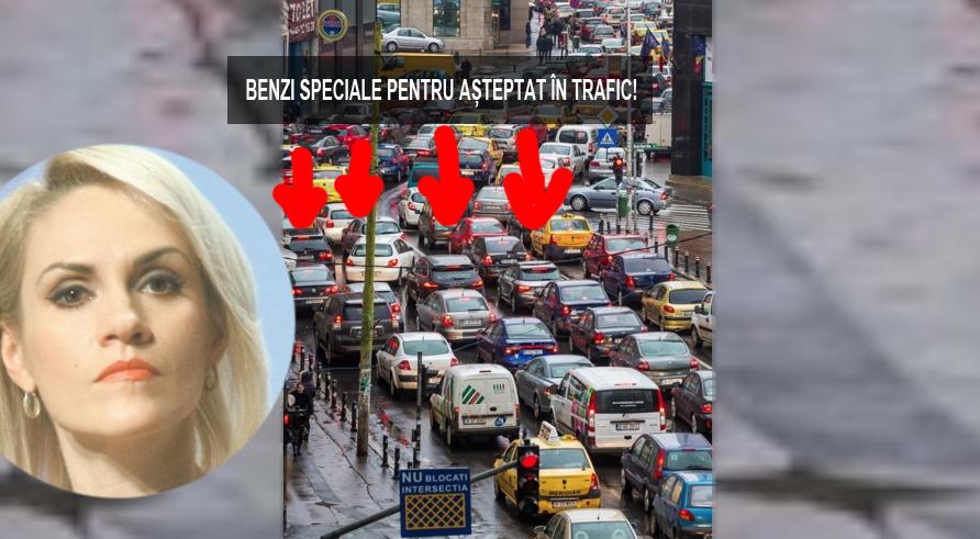 Genial! Firea a făcut benzi speciale pentru așteptat în trafic! Pe Calea Victoriei sunt 4!