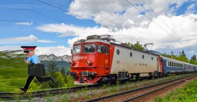 Un tren CFR se chinuie să prindă controlorul din urmă!