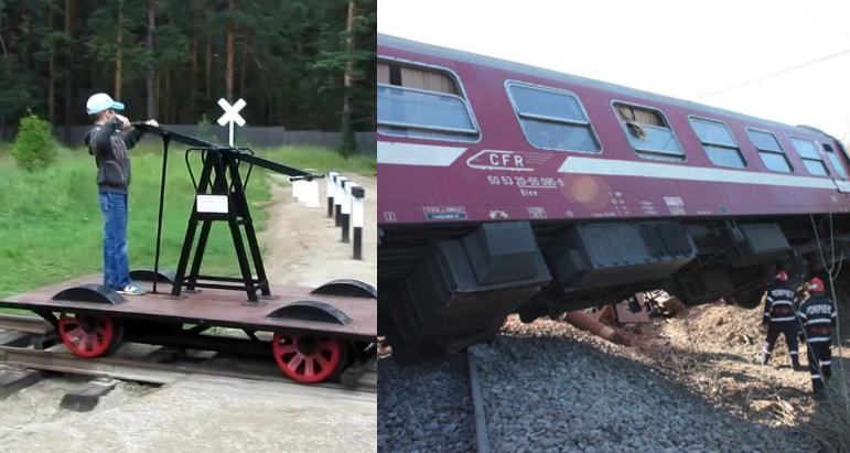 Tren deraiat după ce a fost lovit din spate de o drezină care circula cu viteză!