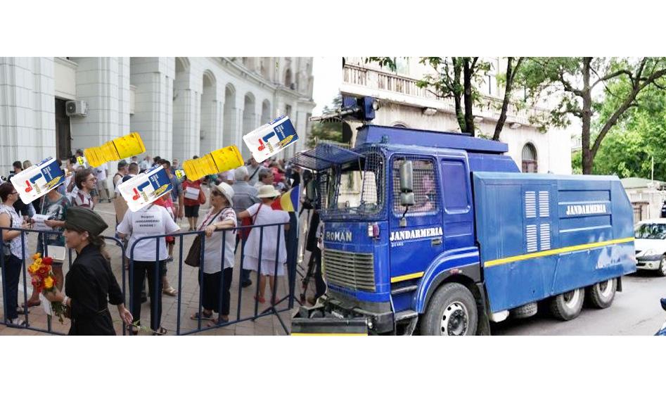 PSD-ul a pus tunul cu făină și ulei pe participanții la mitingul pro-Jandarmerie!