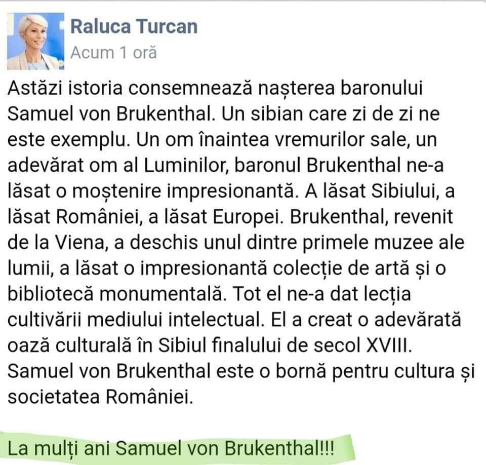 Cum a mărit Raluca Turcan speranța de viață a sibienilor la 300 de ani!